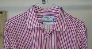 CHARLES-TYRWHITT-Dress-Shirt-17-1-2-36-Pink-Blue-White-Stripe-Flip-Cuff-Slim-Fit