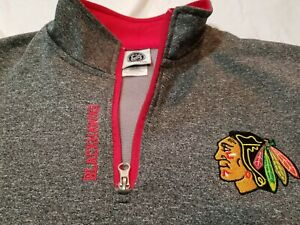 NHL-Chicago-Blackhawks-Mens-Medium-1-4-Zip-Pullover-Embroided-Jacket-Hockey