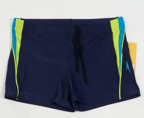 Speedo Navy Blue Fitness Splice 4-Way Stretch Square Leg Swim Trunks Men/'s NWT