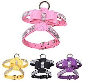Dog-Harness-Bling-Rhinestone-Collar-Velvet-Leather-Leash-Small-Puppy-Chihuahua