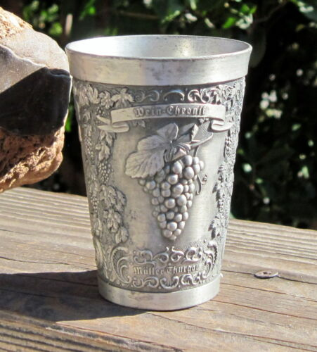 """Vintage Solid German Zinn Becker Pewter Wine Cup 95% Stutgart - Wein-chronif 3+"""""""