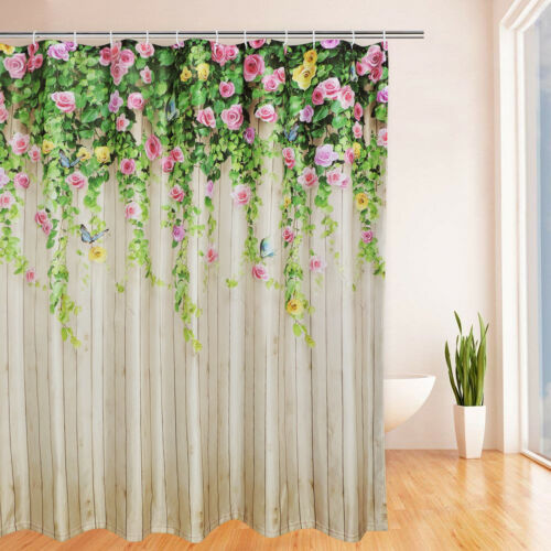 Colorful Flower Waterproof Shower Curtains Bathroom Curtain Decor Included Hook