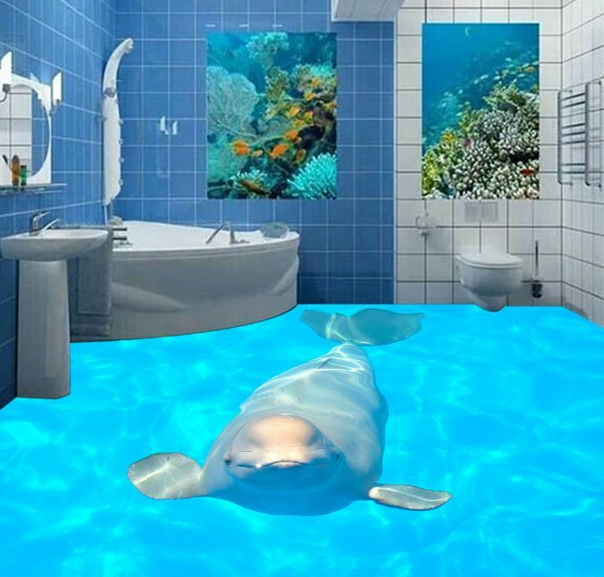 3D Blau Ocean Dolphin 59 Floor WallPaper Murals Wall Print Decal 5D AJ WALLPAPER