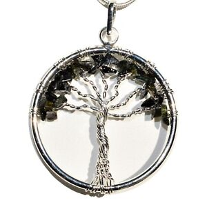 CHARGED-Black-Tourmaline-Tree-of-Life-Perfect-Pendant-REIKI-20-034-Silver-Chain