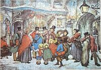 Hand Cut Wooden Anton Pieck Christmas 501 Piece Jigsaw Puzzle In Plywood Box