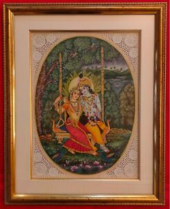 Hand-Painted-Krishna-Radha-God-India-Art-Maharajah-Goddess-Miniature-Painting