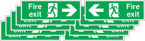 Fire exit arrow Safety signs 300mm x 100mm Self adhesive stickers pack of 10