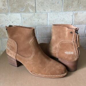 9c6a912f033 Details about UGG Bandara Chestnut Suede Stacked Heel Zip Ankle Boots  Booties Size 11 Womens
