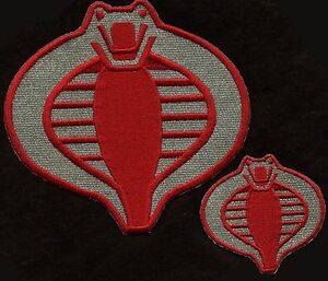 GI-Joe-Cobra-Commander-Crimson-Guard-6-034-amp-3-034-Patch-Set-of-2-Red-amp-Silver