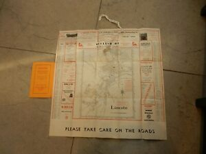 TIRED-MAP-STREET-PLAN-OF-LINCOLN-IDEAL-TO-FRAME-POST-WAR-ERA-1956-DATE