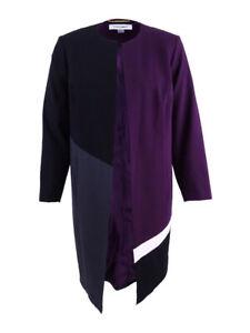 Calvin-Klein-Women-039-s-Plus-Colorblocked-Open-Front-Lux-Topper-Jacket
