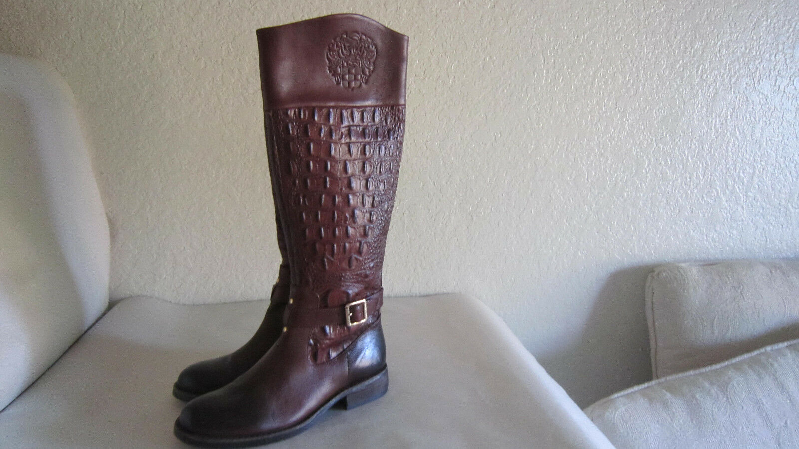 Vince Camuto FLAVIAN Brown Leather Croc Knee High Tall Riding Boot Sz 6.5