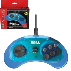 Retro-Bit-Official-Sega-Genesis-Controller-6-Button-Arcade-Pad-Clear-Blue