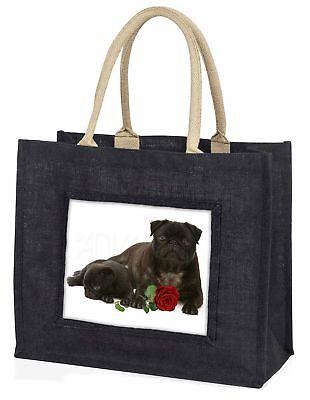schwarze Mops Hunde mit rotem Rose große Einkaufstasche Weihnachten Geschenk,