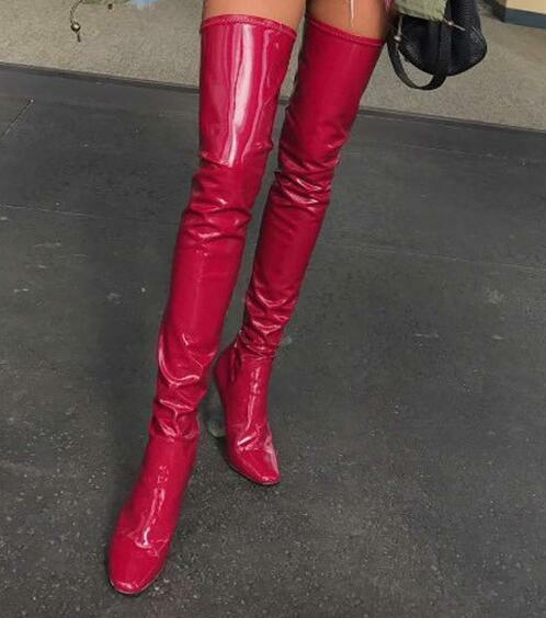 Womens Patent Leather Thigh High Over Over Over Knee Stretch Riding Boots Heels shoes 48923a