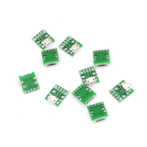 10pcs MICRO USB To DIP Adapter 5pin Female Connector Pcb Converter DIY Kit  TO