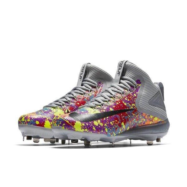 Nike Men's Zoom Trout 3 Metal Baseball Cleat sz 12 Wolf Grey Multicolor Splatter