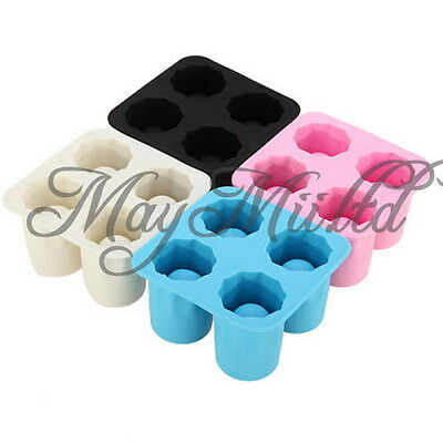 4-Cup Shape Shooters Ice Cube Shot Glass Freeze Mold Maker Rubber Sales O