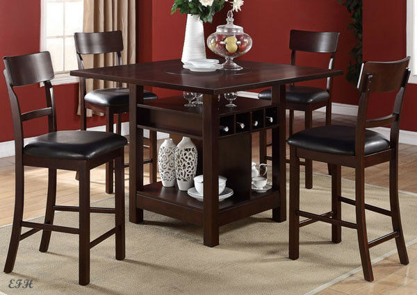 Poundex F2347 5 Pcs Dark Brown Storage Counter Height Set Lazy Susan For Sale Online Ebay