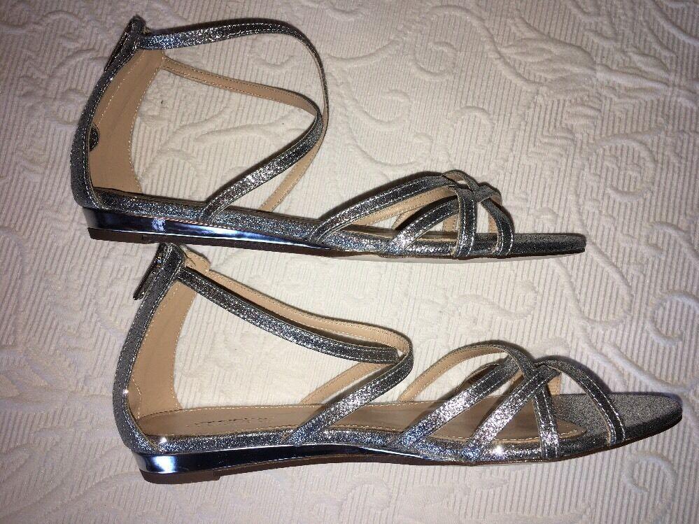 J Crew Sandal 6.5 Cary Mini Wedge Sandals f1365 Silver Glitter NEW  158