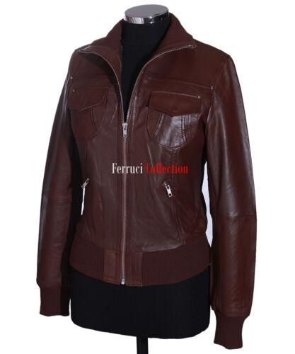 Lopez femme marron femme smart décontracté véritable cuir d/'agneau bomber veste en cuir