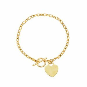 "14kt Yellow Gold Rolo Charm Link Bracelet with HEART Toggle lock 7.5"" 3MM 3 g"