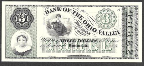 Cincinnati 1860/'s $3.00 Note Bank of the Ohio Valley ABNC Proof Print