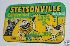 Vintage Stetsonville Wisconsin Centennial Little Black Deer Creek 1974 Pin RARE