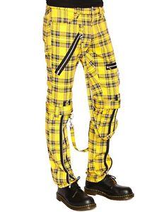 Tripp NYC Chaos Bondage Strap Mens Stretch Skinny Jeans Pants Yellow Plaid 34-38