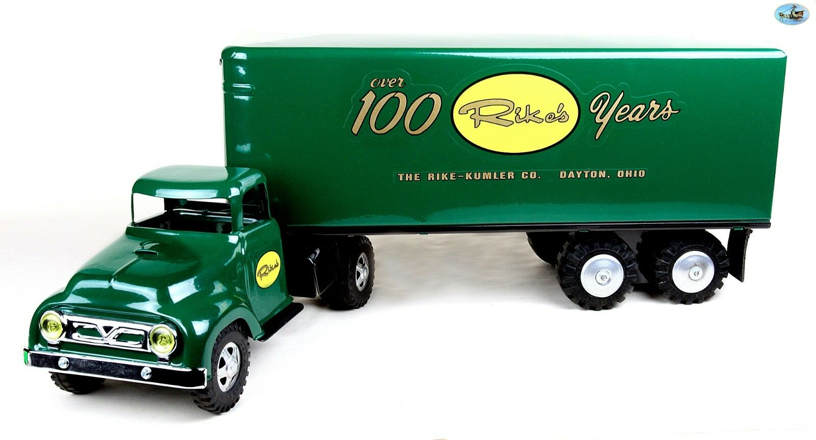 Impresionante restaurado 1950s Tonka 'over hundrosso rikes años de camión de juguete y remolque