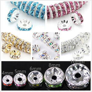 100Pcs-Washer-Spacer-Argent-Perles-Tcheque-Cristal-Strass-Rond-4-6-8-10-mm