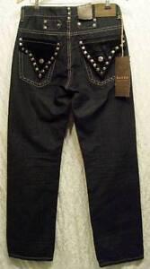 GOTHIC-Black-Velvet-STUDS-Crest-Buttons-Boot-Cut-SACRED-CULT-Denim-Jeans-30-33