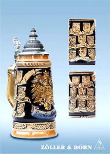GERMAN-BEER-STEIN-0-25-l-relief-german-eagle-crests-with-lid-NEW