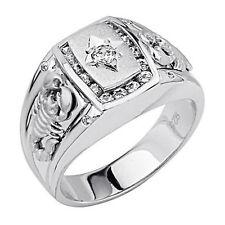 Mens 925 Sterling Silver Polished Rhodium man made diamond Scorpion Ring Sz 8-12