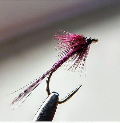 Lightweight Holo// Red Buzzers size 14 Set of 3 Fly Fishing Flies Trout