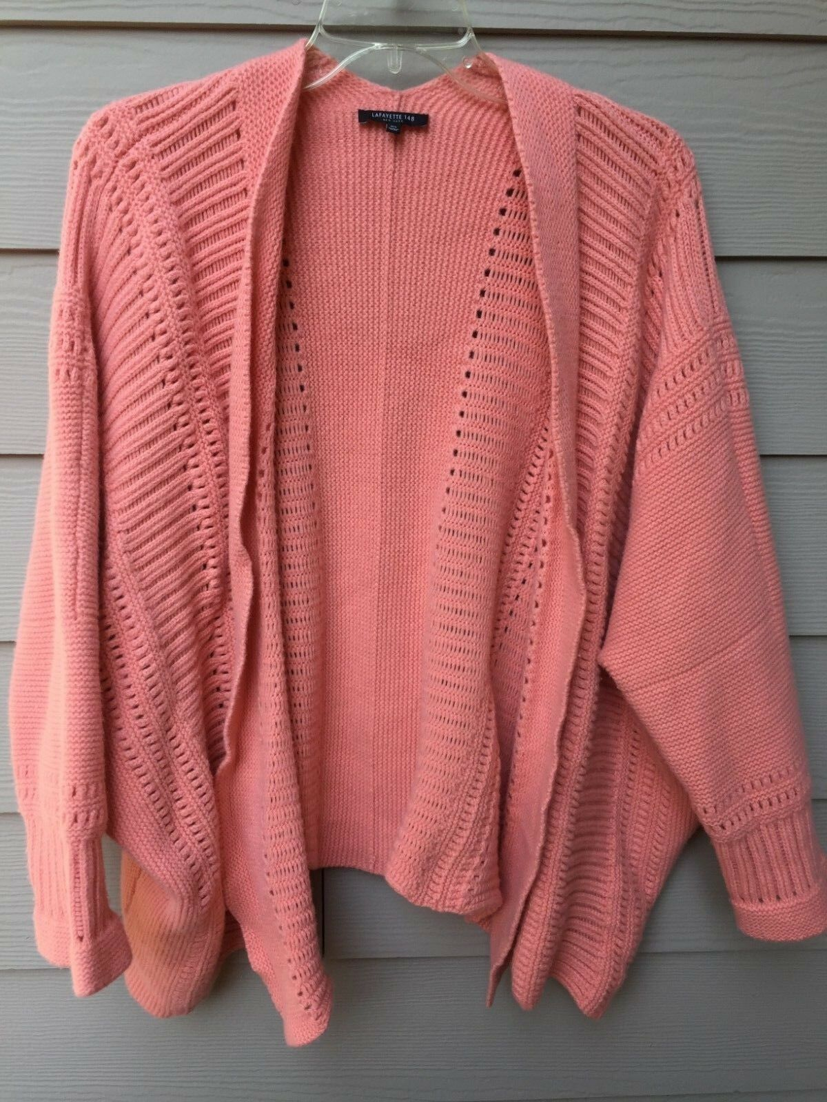 LAFAYETTE 148 Chunky Knit Open Long Cardigan Coral Pink Size M  L Wool Cashmere