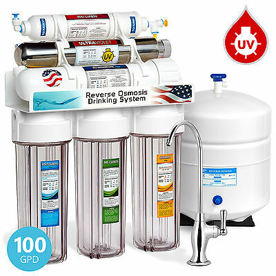 6-Stage 100GPD UV Ultra Violet Sterilizer Reverse Osmosis Water Filter System RO