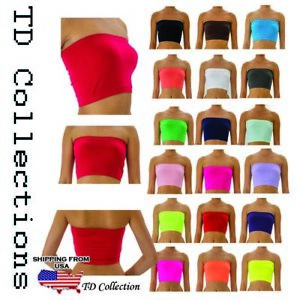 WOMENS PLAIN STRETCH MINI TUBE TOP SPORTS YOGA GYM BANDEAU BRA S M L XL
