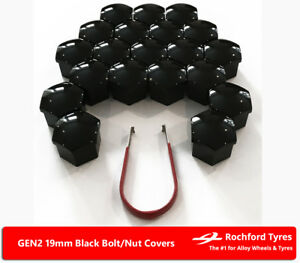 Black-Wheel-Bolt-Nut-Covers-GEN2-19mm-For-Isuzu-D-Max-4x4-Mk2-12-17