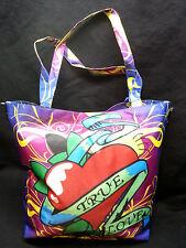 Beach Bag tote lucky 777 true love tattoo heart pvc vegan shoulder purse NWT