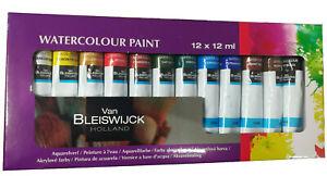 12-Tuben-Wasserfarben-feines-Farbset-Van-Bleiswijck-a-12-ml-Malen-Kuenstlerbedarf