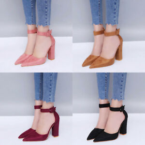 71309a469c05 Womens High Heel Sandals Block Ankle Strap Cuff Pointed Toe Shoes ...