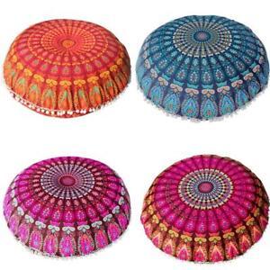 Gran-Mandala-piso-Almohadas-redonda-cubierta-Cojin-de-Meditacion-Bohemio-Otomana-Puf