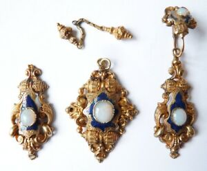 Pendentif Et Boucles D'oreille En Or Massif 19e Siècle Gold Earings And Pendant Enfcjujn-10043423-974622931