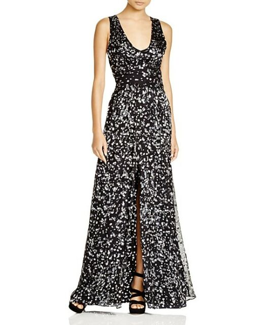 Parker 2429 Womens Black Front Slit Lined Pleated Evening Dress Gown ...