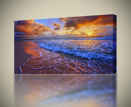 Beach Purple Sunset CANVAS PRINT Home Wall Decor Giclee Art Exotic Waves CA276