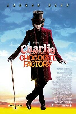 100% Wahr Charlie & Chocolate Factory Filmposter ~ Advance Original 27x40 Johnny Depp