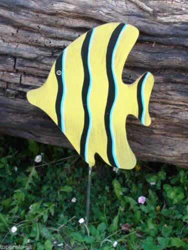 Métal personnage poisson bleu peintes à la main 50 cm Acier Inoxydable Acier JARDIN DECO APPARTEMENT