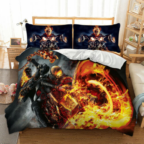 Fire Rider Ghost Motorbike Biker Duvet Cover Cool Bedding Set Single Double King