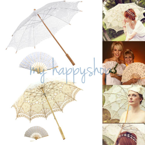 Victorian Lace Sun Parasol Umbrella Hand Fan Wedding Dancing Party Photo Show